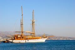 Barca a vela di legno fotografie stock