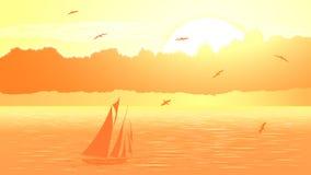 Barca a vela di vettore contro il tramonto arancio. Fotografie Stock