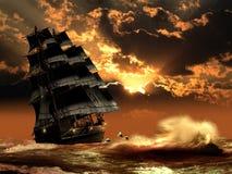 Barca a vela e delfini Fotografie Stock