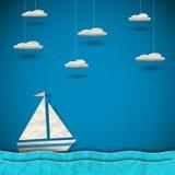 Barca a vela e nuvole Fotografie Stock