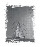 Barca a vela, gabbiano e mare astratti Vettore Adatto come etichetta sulla a Fotografie Stock