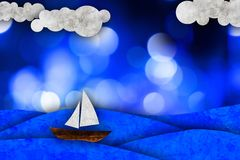 Barca a vela, illustrazione del mare Immagine Stock