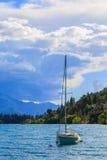Barca a vela in lago Wakatipu Fotografia Stock
