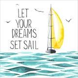 Barca a vela nel mare e nei gabbiani intorno Immagine Stock