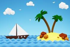 Barca a vela nel mare vicino all'isola deserta con le palme 3D illustrazione - vacanze estive in mare fotografie stock