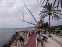 barca a vela in Palma de Mallorca immagini stock libere da diritti