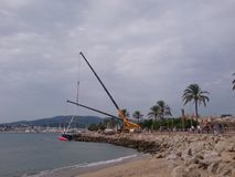 barca a vela in Palma de Mallorca fotografia stock libera da diritti