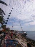 barca a vela in Palma de Mallorca immagine stock libera da diritti