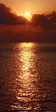 Barca a vela profilata in tramonto brillante sull'Oceano Indiano Immagini Stock