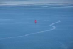 Barca a vela rossa sul mare Immagine Stock