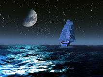 Barca a vela sotto la luna Fotografia Stock