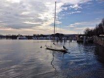 Barca a vela su Lago Maggiore Fotografia Stock
