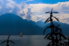 Barca a vela sul lago Ginevra fotografie stock libere da diritti