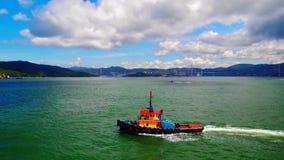 Barca in Victoria Harbor Immagine Stock