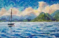 Barca, yacht, barca a vela nel lago blu dell'acqua del turchese del fiume dell'oceano contro un fondo di belle montagne verdi Flu Immagine Stock Libera da Diritti
