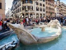 Barcaccia fountain Ugly Boat Piazza di Spagna Rome. Rome, Italy - Sept 2016: Barcaccia fountain of the Ugly Boat at Piazza di Spagna Stock Photos