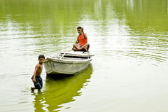 Barcaiolo del bambino Fotografie Stock Libere da Diritti