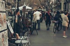 Barcelllona, couleurs de vintage de Ramblas Image stock