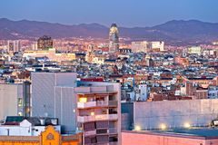 Barcellona视图从Montjuic,西班牙的。 免版税库存照片