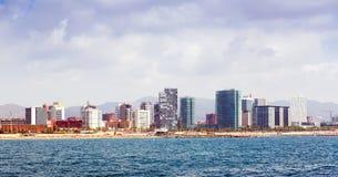 Barcellona dal mar Mediterraneo di estate Fotografie Stock Libere da Diritti