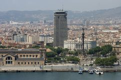 Barcellona dal porto Fotografie Stock Libere da Diritti