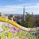 Barcellona dalla sosta Guell Fotografie Stock Libere da Diritti