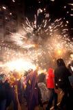 Barcellona Fuoco-esegue il partito Fotografie Stock