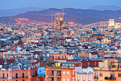 Barcellona from Montjuic, Spain. Night View of Barcellona from Montjuic, with the Sagrada familia stock images