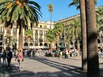 Barcellona, quadrato reale e fontana delle tre tolleranze in Immagini Stock