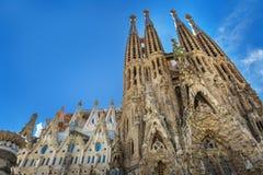 Barcellona, Spagna - 18 aprile 2016: Cattedrale principale della facciata di La Sagrada Familia Immagine Stock