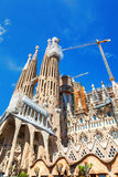 Barcellona, Spagna - 18 aprile 2016: costruzione della cattedrale principale della facciata di La Sagrada Familia Immagini Stock