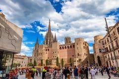 Barcellona, Spagna - 17 aprile 2016: Grande Royal Palace nel re Square Immagine Stock