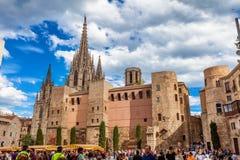 Barcellona, Spagna - 17 aprile 2016: Grande Royal Palace nel re Square Fotografia Stock