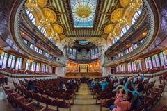 BARCELLONA, SPAGNA - 28 APRILE: Interno del palazzo di musica catalana il 28 aprile 2016 a Barcellona, Spagna Immagini Stock Libere da Diritti