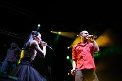 La banda di Delafe y Las Flores Azules esegue al Palau Sant Jordi Fotografia Stock