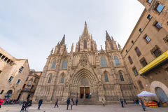 BARCELLONA, SPAGNA - 16 FEBBRAIO 2017: Cattedrale dell'incrocio e della st santi Eulalia Copi lo spazio per testo Fotografia Stock