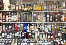 Deposito dell'alcool della vetrina Fotografia Stock