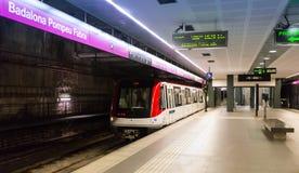 Stazione della metropolitana Badalona Pompeu Fabra Fotografia Stock Libera da Diritti