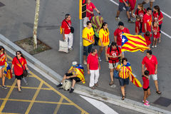 BARCELLONA, SPAGNA - SETTEMBRE 11: Ingependence di manifestazione della gente Fotografia Stock