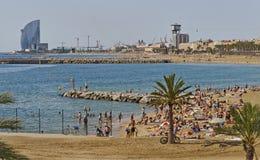 Barcellona, spiaggia Bogatell di Barceloneta Immagine Stock