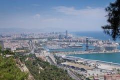 Barcellona View_City_Sea Fotografia Stock Libera da Diritti