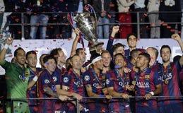 Barcellona vince il finale della lega dei campioni Fotografia Stock Libera da Diritti