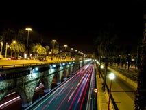 barcelona świateł noc ruch drogowy Fotografia Royalty Free