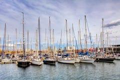barcelona гаван Испания Яхты, парусники Стоковое фото RF