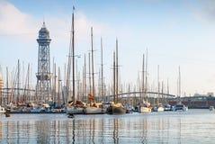 barcelona гаван Испания Яхты, парусники Стоковое Изображение
