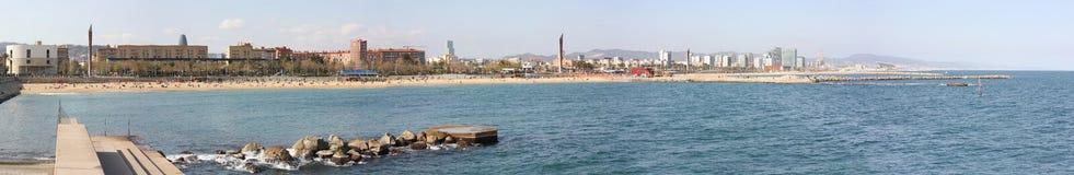 barcelona приставает панораму к берегу s Стоковая Фотография