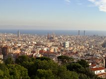 Barcelona. Panoramic view to barcelona from park guell, spain stock images