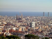 Sagrada Familia Cathedral in Barcelona, Spain. Panoramic view to Barcelona with Sagrada Familia Cathedral, taken from Park Guell, Barcelona, Spain stock photo