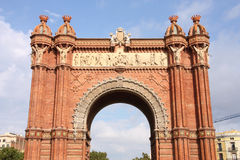 Barcelona. The Arc de Triomf (English: Triumphal Arch) - archway structure in Barcelona, Spain. Built by architect Josep Vilaseca i Casanovas. Moorish revival Stock Image