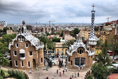 Barcelona. Skyline, city in Spain. Including partial view of Park Guell royalty free stock image